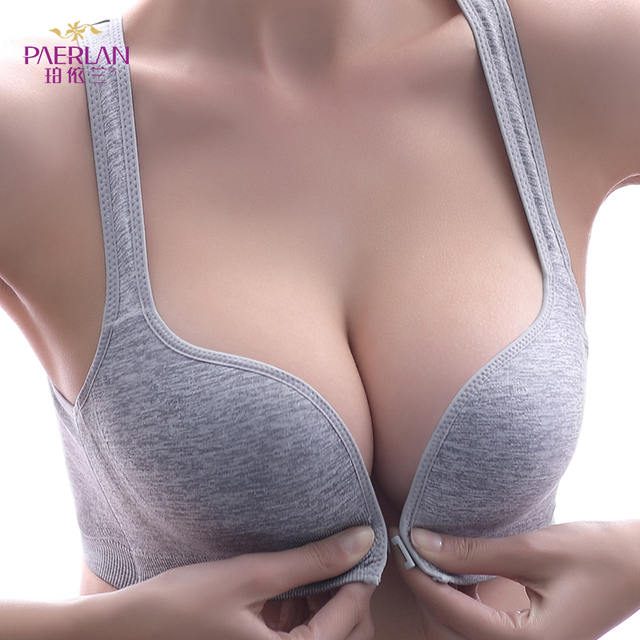 【Limited Edition】PAERLAN Sport Bra Wire Free Front Closure Small Breast Push Up Comfortable Seamless Solid Underwear Women