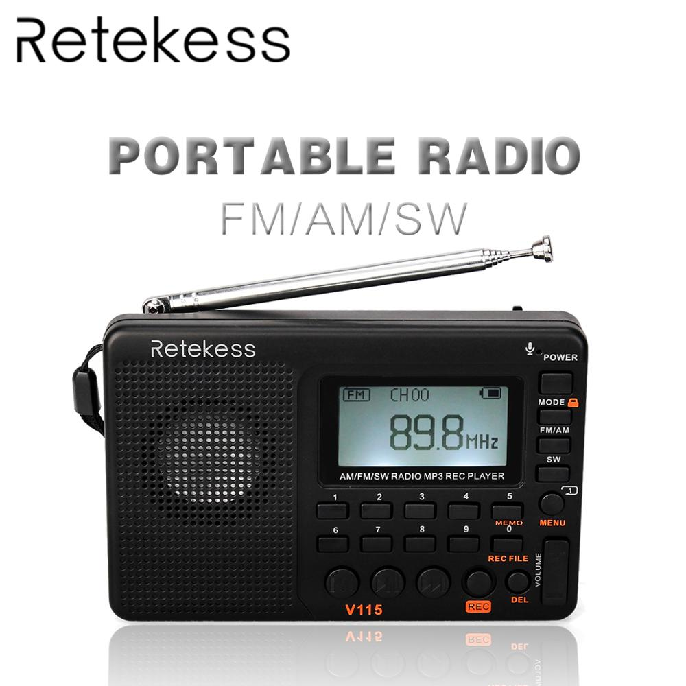 RETEKESS V115 Radio AM FM SW Pocket Radio Receiver Shortwave FM Speaker Transistor Receiver TF Card USB REC Recorder