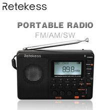 10pcs TIVDIO V-115 FM/AM/SW Radio Receiver Music Player (MP3/WMA) 3 Recording Mode Portable Radio With 1000mAh Battery In Moscow 5 pcs portable radio retekess v 117 3 band fm am sw radio battery powered emergency receiver radio station f9207a