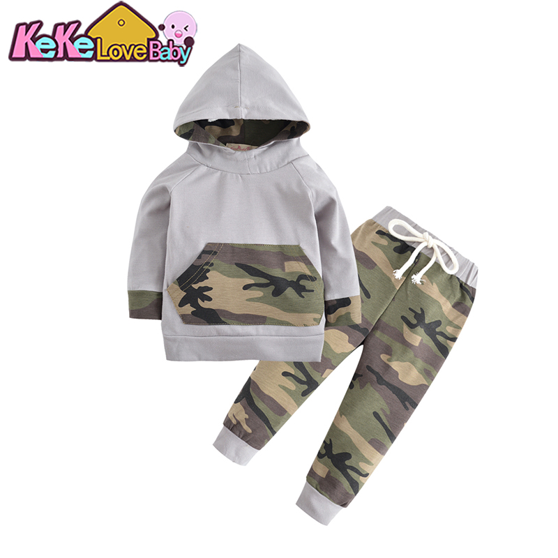 2pcs Set Toddler Baby Boy Clothes Tops Pant Outfits Children Baby Boys Clothing Sets Long Sleeve Kids Hooded Camouflage Autumn