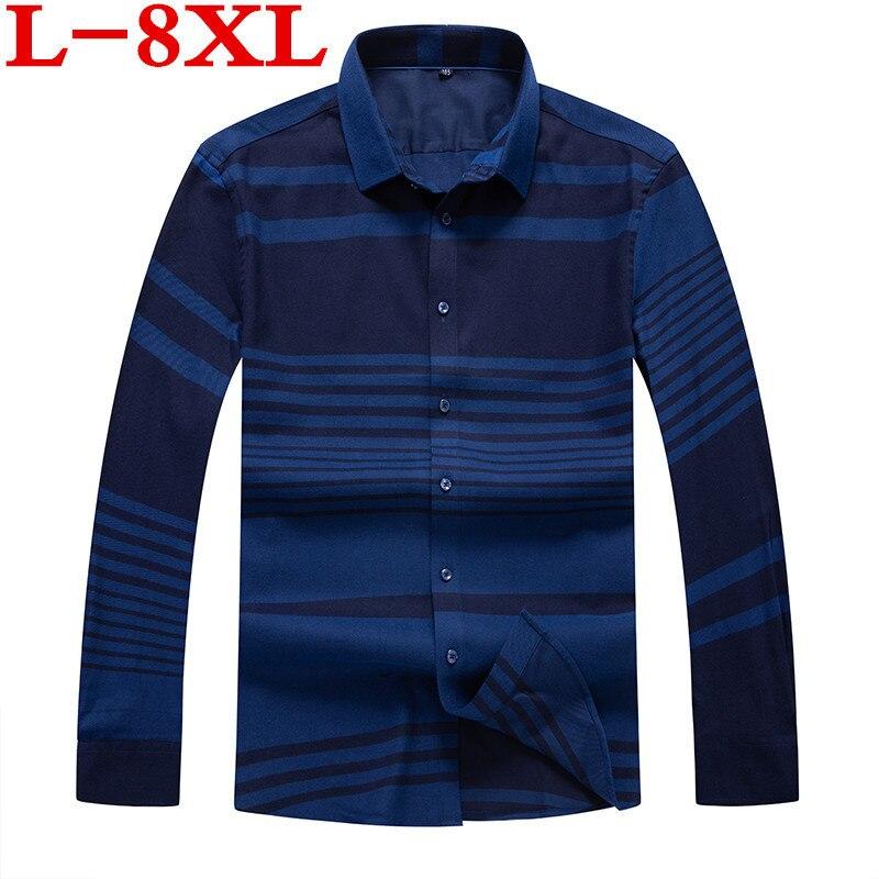 Big Plus Size  8XL 7XL  6XL 5XL 4XL  New Autumn  Casual Shirts Men Striped Fashion Loose Fit Cotton Plus Size Brand Clothing