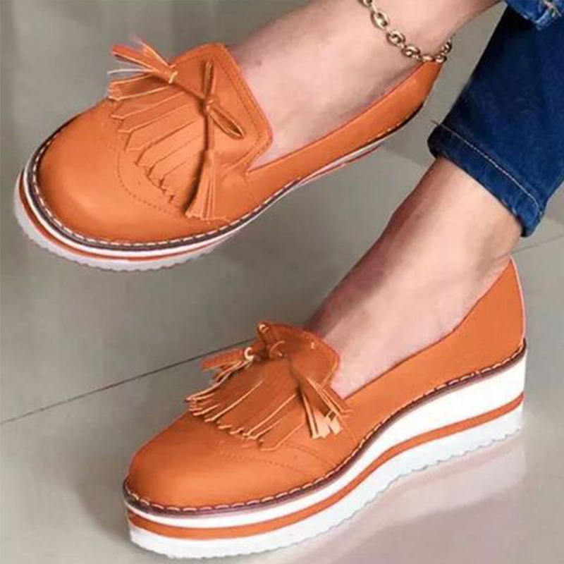Women's Tassel Loafers Woman Slip On Sneakers Ladies Soft PU Leather Sewing Platform Thick Bottom Flats Female Shoes New Fashion