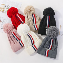 USPOP 2019 fashion winter Skullies women thickened warm hats patchwork striped knitted beanies female pompom
