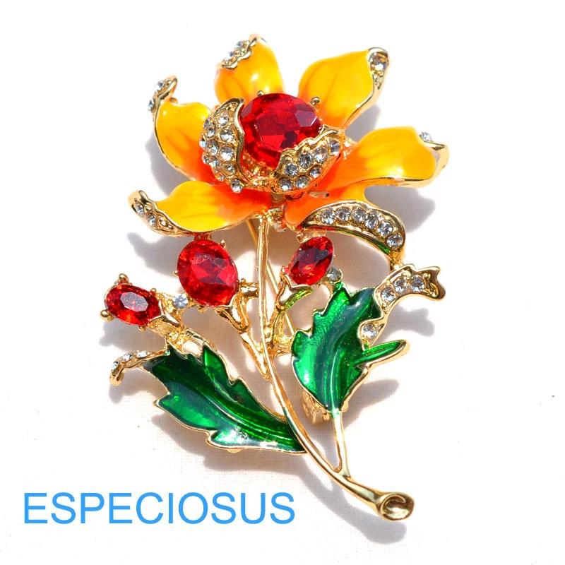 Элегантная булавка золотого цвета для женщин, подарки фиолетового цвета, цветок, стразы, брошь для груди, аксессуары, ювелирное изделие, окрашенная металлическая брошь, одежда - Окраска металла: Red