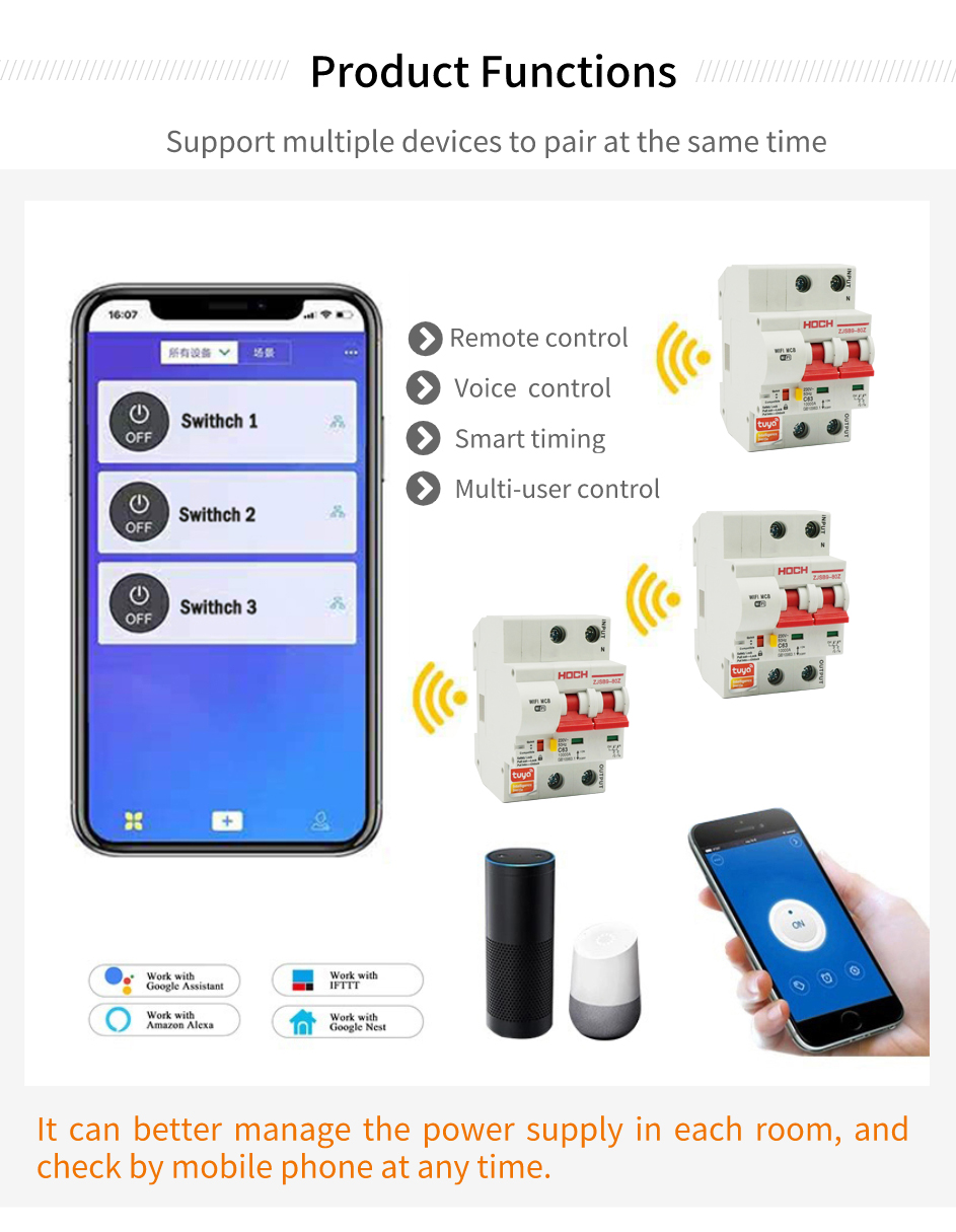 HOCH Tuya WiFi Circuit Breaker Remote control automatic overload short circuit protection AmazonAlexa Google home Smart Home