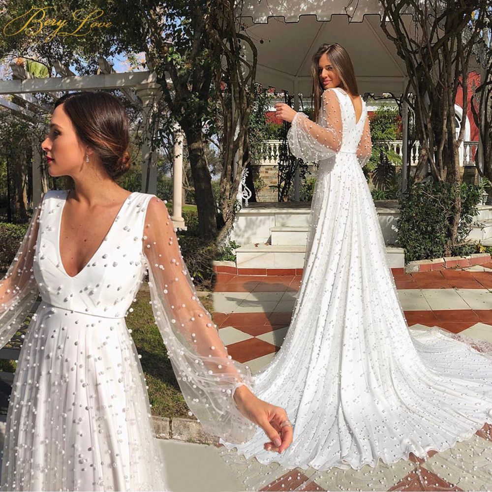 BeryLove Pearls A Line White Wedding Dress 2020 Long Lantern Sleeves V Neckline Zipper Back Train Bridal Dress Bride Marriage