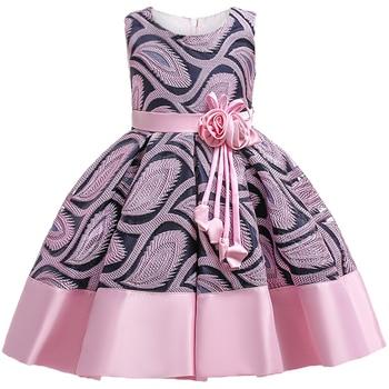 цена на Baby Girls Flower Striped Dress For Girls Unicorn Wedding Party Dresses Kids Princess Christmas Dress Children Girls Clothing