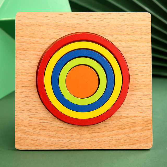 High Quality Colorful 3D Wooden Geometric Shapes Cognition Puzzles Board Math Game Montessori Learning Educational For Kids Toys 6