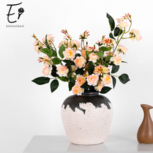 Erxiaobao High Quality 3 Heads Peony Artificial Flowers with Leaf Fake Plants Silk Flore Wedding Flower Wall Home  Decoration