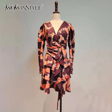 TWOTWINSTYLE Printed Patchwork Ruffle Dress For Women V Neck Puff Sleeve High Waist Hit