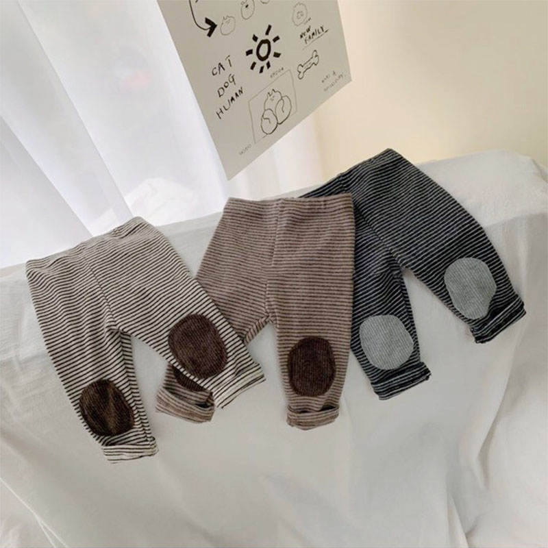 2020 Spring Warm Thicken Fleece Infant Baby Leggings Pure Cotton Stripe Toddler Pants Baby Girl Clothes 0-2years