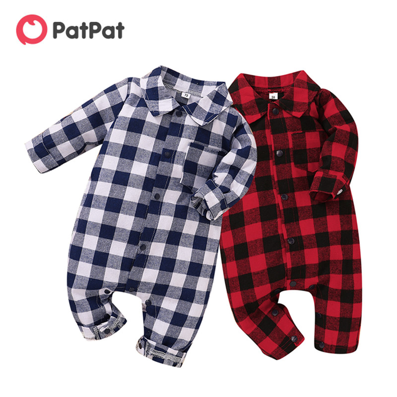 Patpat Jumpsuit Collar Plaid Autumn Baby-Girl Newborn Cotton Classic Casual Spring