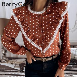 Image 2 - BerryGo Polka dot bluzka vintage koszula kobiety wiosna lato z długim rękawem koronkowy top eleganckie odzież do pracy na co dzień koszulka żeńska top blusas