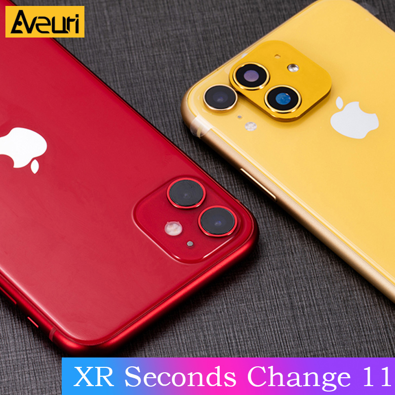 Modified Sticker Camera Lens Seconds Change Cover For IPhone XR X R Fake Sticker Camera For IPhone 11 Tempered Glass Protector