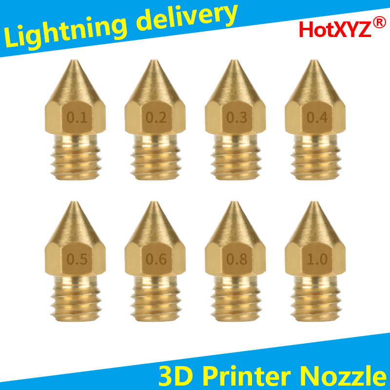 HotXYZ MK8 Nozzles 3D Print Extruder Brass Nozzles for Ender 3 Ender 5 Anet A8 Makerbot Creality CR-10 3D Printer Accessories