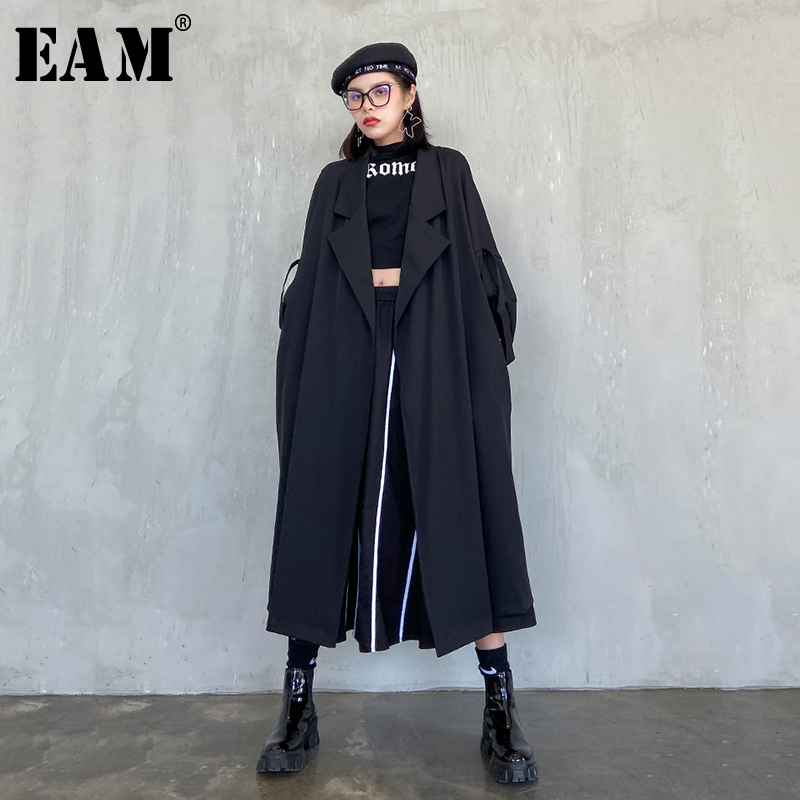 [EAM] Women Black Brief Long Big Size Trench New Lapel Long Sleeve Loose Fit Windbreaker Fashion Tide Spring 2020 1S009