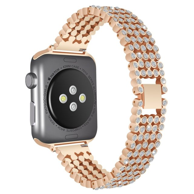 Luxury diamond rhinestone bling strap for apple watch band 38mm 42mm stainless steel metal bracelet for iwatch 5 6 se 40mm 44mm