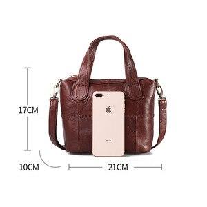 Image 3 - Bolsa de ombro de couro genuíno de patchwork, bolsa de mão feminina transversal
