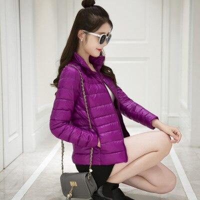 Женское зимнее пальто Новая мода 90% белый утиный пух куртка Сверхлегкий портативный тонкий пуховик женские зимние куртки парки - Цвет: Purple