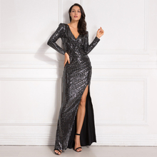 Sexy Deep V Neck Cut Out Evening Party Dress Hollow Out Full Sleeved Sequined Maxi Dress Pleated Split Leg Elastic Material