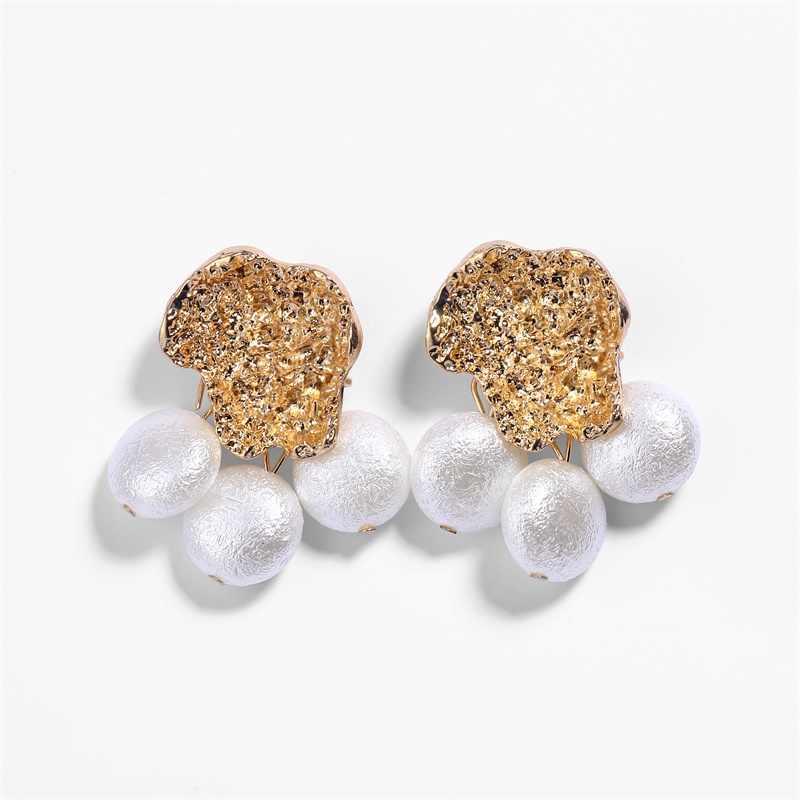KISSWIFE 自由奔放に生きる誇張金属真珠のドロップイヤリング ZA 新クリエイティブゴールド合金サークルイヤリング女性宝石類のギフト