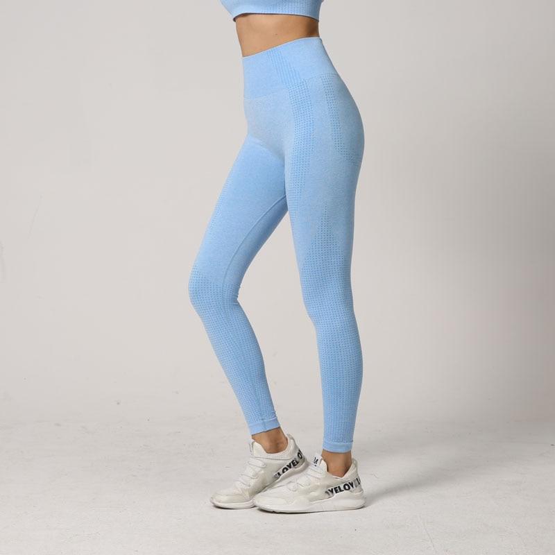 Mulheres sem costura energia leggings fitness correndo