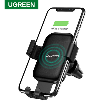 Ugreen Wireless Car Charger for iPhone 12 Pro XS X 8 Fasr Wireless Charging for Samsung S9 S10 Xiaomi mi 9 Qi Wireless Charger