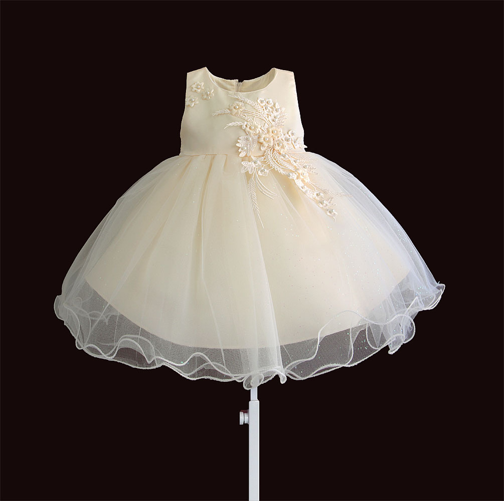 Zoeflower New Style Applique Children Baptism Princess Dress Banquet Performance Formal Dress Champagne