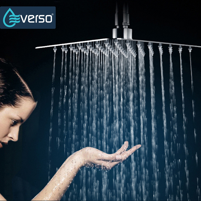 Big Shower Head 304 Stainless Steel Square 8 inch Waterfall Chrome Finished High Pressure Ceiling Rain Ceiling Shower Head