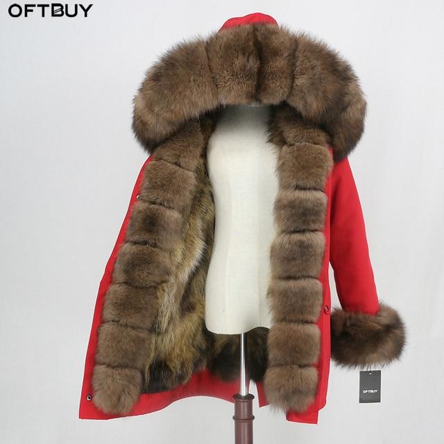 OFTBUY 2020 Waterproof Outerwear Real Fur Coat Long Parka Winter Jacket Women Natural Fox Fur Hood Streetwear Detachable Brand