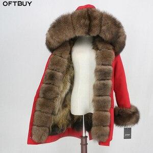 Image 1 - OFTBUY 2020 wodoodporna odzież wierzchnia prawdziwe futro długa kurtka zimowa Parka kobiety naturalne futro lisa kaptur Streetwear odpinany marka