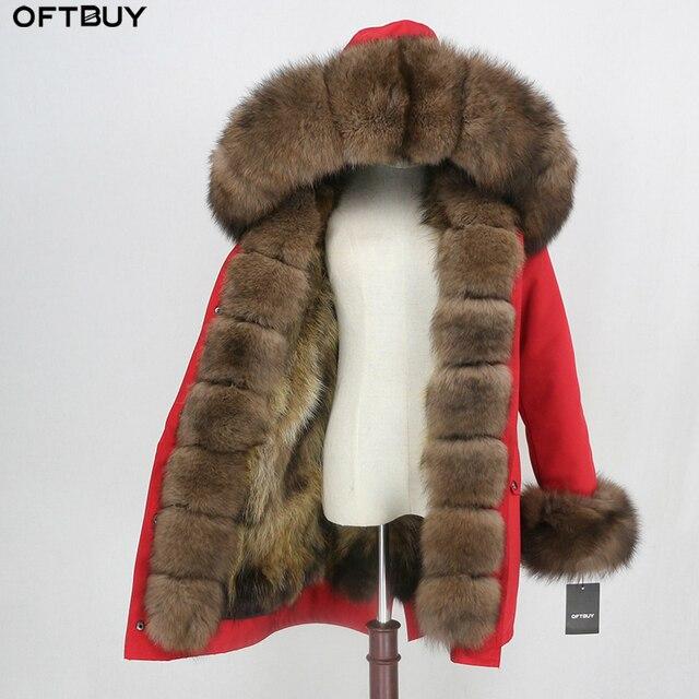 OFTBUY 2020 wodoodporna odzież wierzchnia prawdziwe futro długa kurtka zimowa Parka kobiety naturalne futro lisa kaptur Streetwear odpinany marka