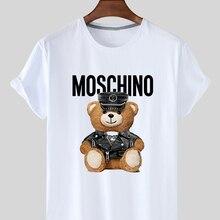 T-Shirt Sport Summer White for Women Blouse Short-Sleeve Fresh Animal Bear-Print Personality