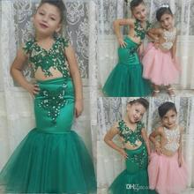 Green Mermaid Lace Appliques Girls Party Dress Flower Dress Dress For Wedding Baby Communion Dresses Beads Kids Pageant Gowns Ch skyyue girl pageant dress appliquie lace flower tulle flower girl s dresses for wedding o neck bow communion gowns 2019 dk2918