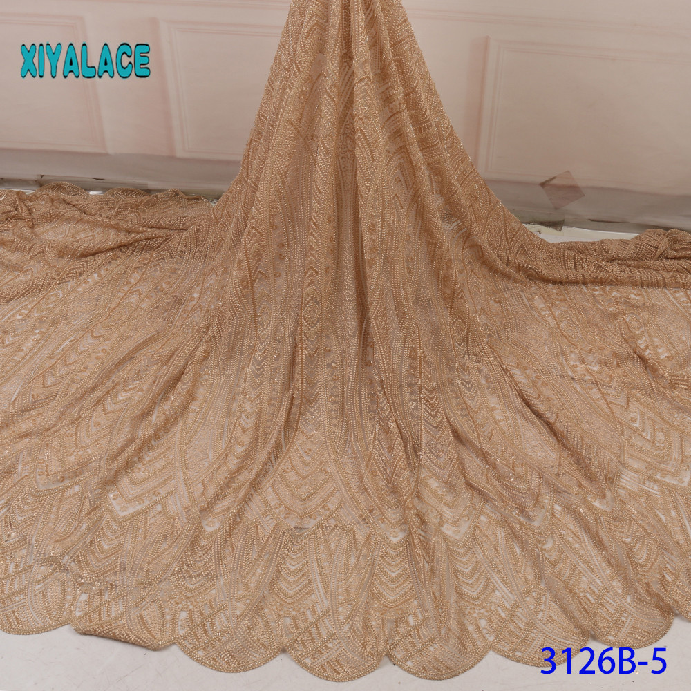 African Lace Fabric Latest Green African Beaded Gold Lace Fabric Embroidery Nigerian Lace Fabric 2019 French Voile Lace YA3126B5