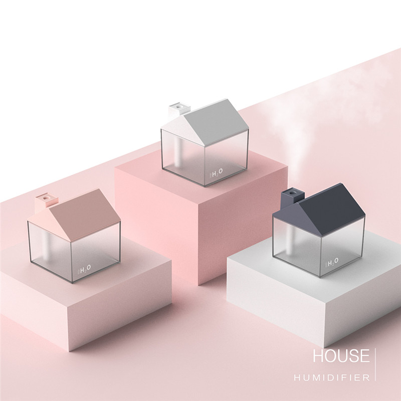 3 In1 250ML Little House USB Air Humidifier Ultrasonic Cool-Mist Maker Adorable Mini Humidifier Aroma Essential Oil Spray