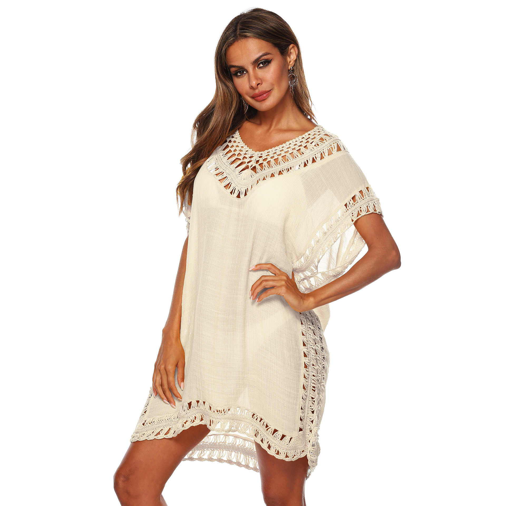 Bathing Suit Cover Ups Solid Color V-neck Knitted Tassel Swimwear Stitching Sexy Bikini Cover Up Women Hollow Loose Beach Dress