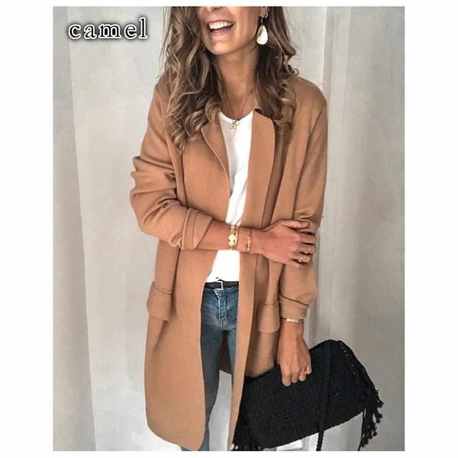 Deruilady 2019 가을 겨울 긴 검은 색 블레이저 여성 긴 소매 가짜 포켓 오피스 숙녀 블레이저 자켓 여성 겉옷