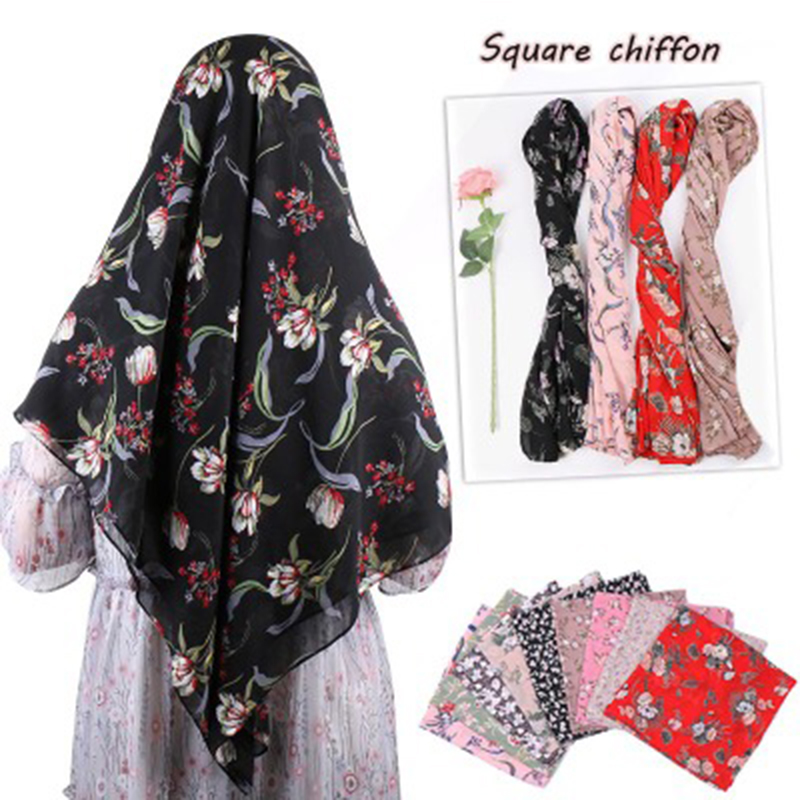 2019 NEW Bubble Chiffon Patterened Hijabs Large Square Scarf Turkish Malaysia Hijab Muslim Headscarf Female Bandana