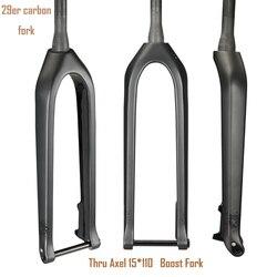 Garfo de carbono 29er mtb garfo de bicicleta cônico através do eixo 15mm impulso bicicletas mountain bike 29 corrida usado garfo