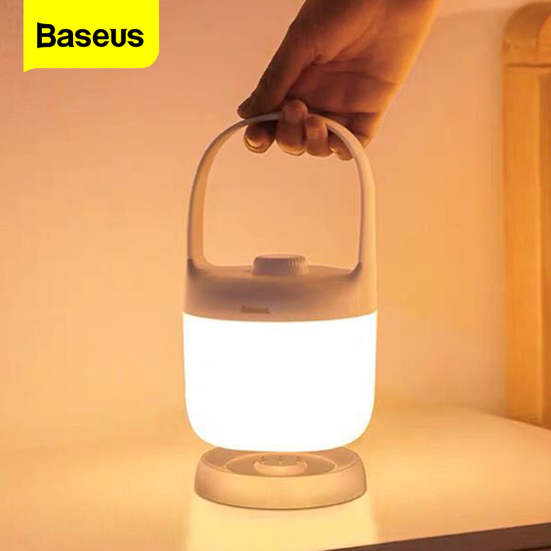 Baseus Handle Touch/Swivel Stepless Dimmable Night Light Portable Table Lamp Reading Lamp 3000-5000K Rechargeable USB LED Light