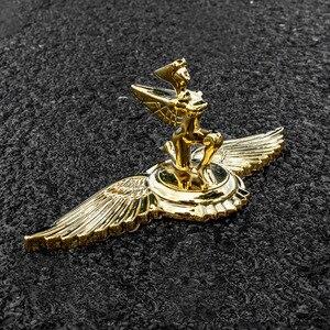 Image 2 - 1PC Goldene Fliegenden Adler Flügel Pferd Stehend Kniend Göttin Form Auto Haube Motorhaube 3D Stehen Univeral Emblem Abzeichen Ornament logo