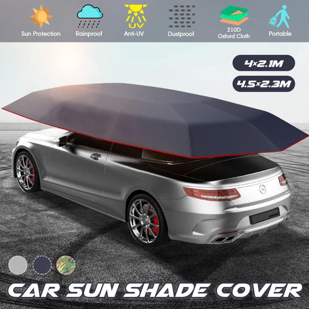 4.5x2.3/4.2x2.1M กลางแจ้งรถเต็นท์ร่มรถ Sun Shade COVER Oxford ผ้าโพลีเอสเตอร์ครอบคลุมโดยไม่ต้องวงเล็บรถจัดแต่งทรง...
