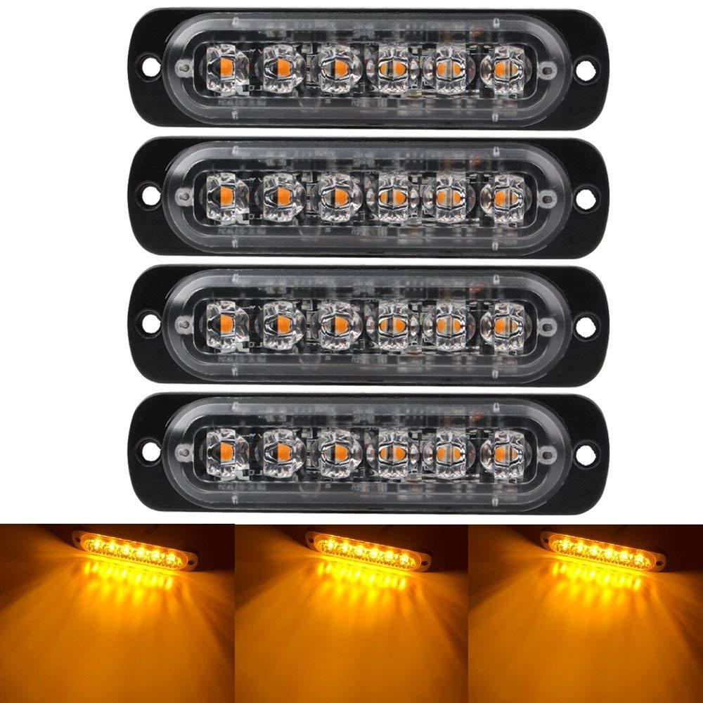 Emergency Strobe Lights For Trucks, Amber Recovery Car 6 Chips LED Lighting Bar Orange Grill Breakdown Flashing 12/24V Amber Led