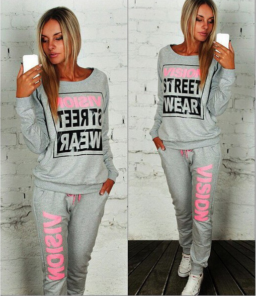 Hot Selling Europe And America Autumn Crew Neck Pullover Lettered Bicolor Long Sleeve Two-Piece Set