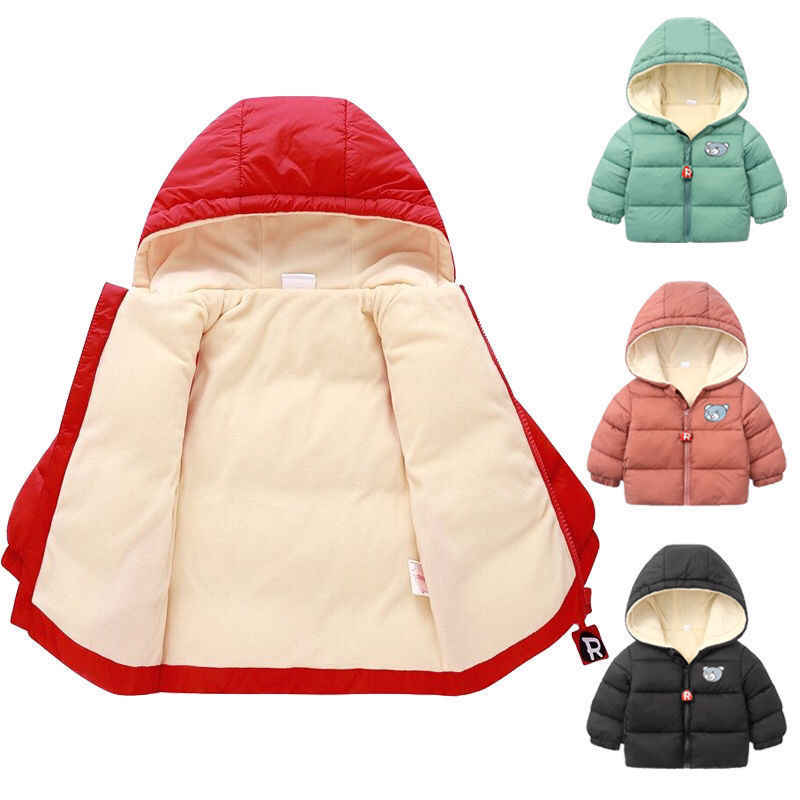 Kids Toddler Boys Winter Cotton Velvet Parkas Jackets For Children Outerwear Clothing  Baby Girl Hoodies Coat Clothes