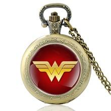High Quality Vintage Wonder Woman Symbol Glass Dome Quartz Pocket Watch Classic Men Women Bronze Necklace Pendant Gifts