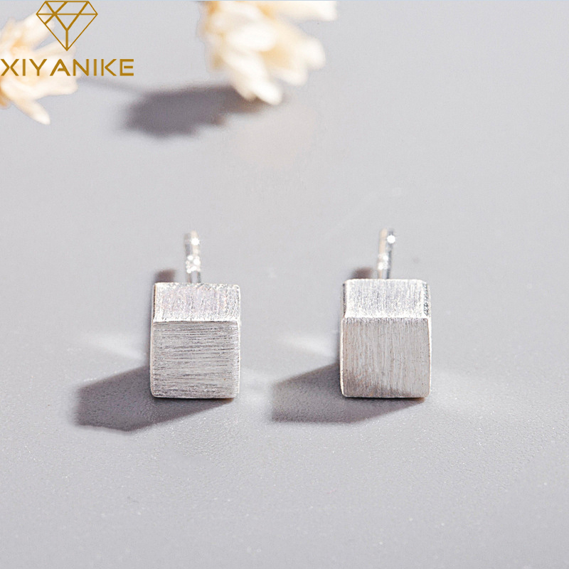 XIYANIKE 925 Sterling Silver New Fashion Square Prevent Allergy Stud Earrings For Women Korean Style Small Geometric Jewelry