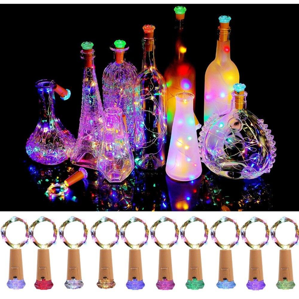 יין בקבוק אור פקק צורת חיצוני גרלנד led מחרוזת אורות חתונת קישוט פיית אור חג המולד אספקת עבור בית גןמחרוזות תאורה   -