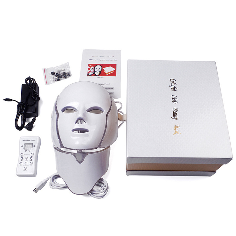 7 Colors Led Facial Mask Led Korean Photon Therapy Face Mask Machine Electric Light Therapy Acne Mask Neck Beauty Led Mask